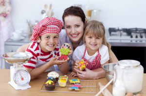 European Nanny & Children Baking Cakes